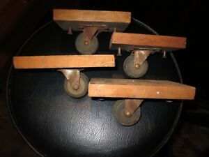 Vintage Bassick Caster 2 B 9 b Bearing Industrial Set 4 Matched Mount Iron Dolly