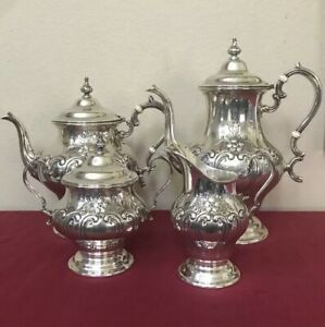 Gorham Chantilly Sterling Silver Coffee Tea Pot Sugar Creamer Set Hand Chased