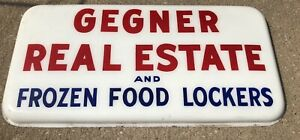 Gegner Real Estate Frozen Food Locker Plastic Business Sign Stockport Iowa Ia