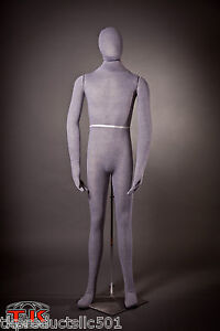 Mannequin Full Size Flexible Posable Grey Male For Costume Displays