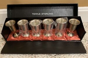 Set Of 6 Vintage Sterling Silver Towle Cordial Sherry Shot Cups