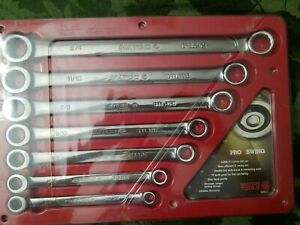 New Matco Tools Sgrbl7t 7 piece Pro Swing Sae Box Ratcheting Wrench Set