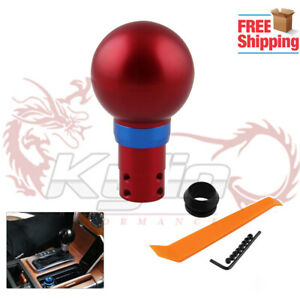 Round Gear Shift Knob Shifter Button Automatic Transmission Aluminum Red