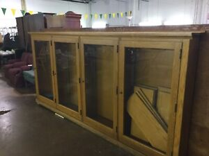 Huge Antique Oak General Store Library Bookcase Cabinet Bookcases Dish Display 2
