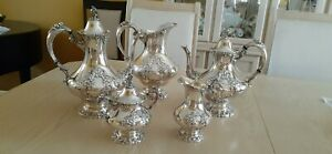 Reed Barton King Francis Silverplate Coffee Tea Pot Set Water Pitcher 6 Pc