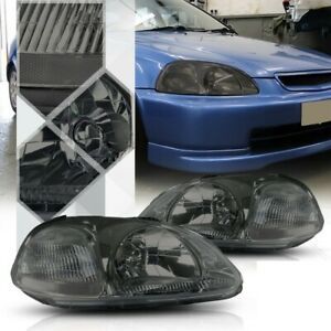 Fits Honda Civic 96 98 Smoked No Amber Headlights Lights Lamps Left Right Pair