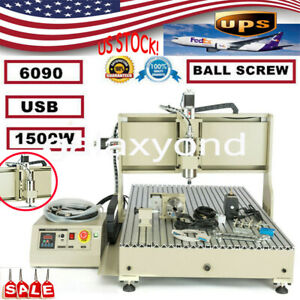 Usb 4axis Cnc 6090 Router Engraver Carving Drilling Machine 1 5kw Vfd Diy Cutter