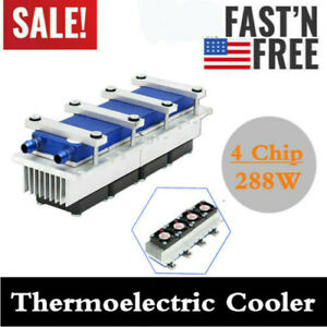 4chip Semiconductor Refrigeration Kit Thermoelectric Peltier Water Cooling New