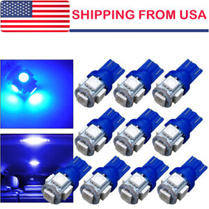 10 Ultra Blue T10 Led Bulbs Car Interior License Light 2825 192 194 5050 5 Smd