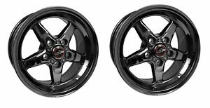 Pair Racestar 92 580150dsd Drag Star Wheel Black Chrome 15x8 5x4 5 5 25 Bs