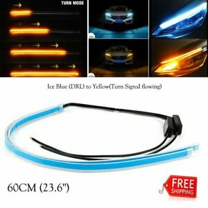 2x 60cm Led Turn Strip Signal Lights Daytime Running Sequential Flow Headlight