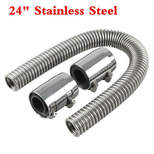 Stainless Steel 24 Chrome Radiator Flexible Coolant Water Hose Kit W cover Caps