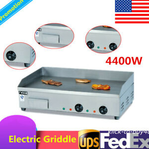 Commercial Electric Countertop Griddle 4400w For Restaurant Grill Bbq 50 c 300 c