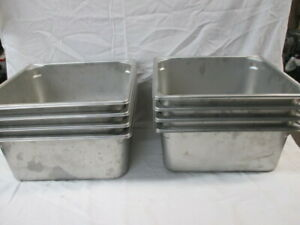 Lot Of 8 Stainless Steel Steam Table Insert Pans Buffet Food Truck Cater ao