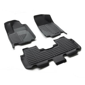 Black All Weather Floor Mats Liners For 1st 2nd Row 2015 2019 Toyota Highlander