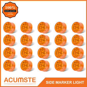 20pc 2 Amber Round Led Side Marker clearance Light 9 Diodes W Flower Petal Look