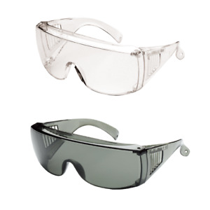 Protective Safety Glasses Clear Grey Safety Wide Vision Visitor Over Spectacle