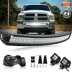 For Dodge Ram 1500 2500 3500 2003 18 Bumper 42 Led Curved Light Bar Wiring 40