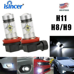 2x H11 H8 H9 Led Fog Light Headlight Conversion Kit Bulbs High Power 6000k 100w