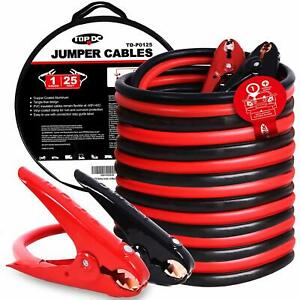 Topdc Jumper Cables 1 gauge 25 ft 700amp Heavy Duty Booster Cables With Carry