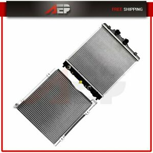 New Aluminum Radiator Ac Condenser Set For 98 00 Honda Civic 1 6l L4