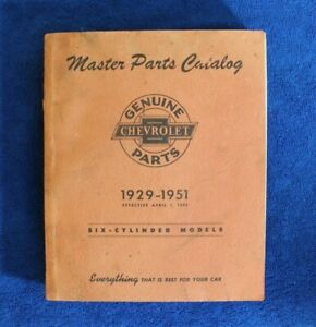 Vintage 1929 1951 Chevrolet Master Parts Catalog Book Auto Truck Six Cylinder