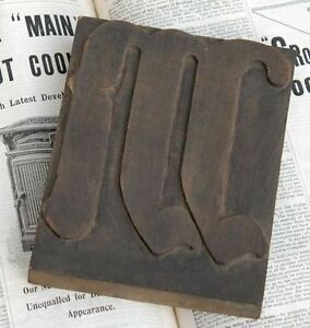 Huge m Blackletter 7 09 Handcarved Woodtype Printing Block Letterpress Abc