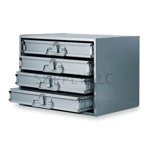 Metal 16 Hole Storage Tray Bolts Nuts Cabinet Sliding Rack W Four Drawers