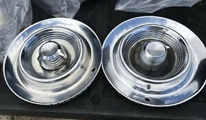 Vintage Chrysler Imperial Genuine 14 Hubcaps Set Of 2