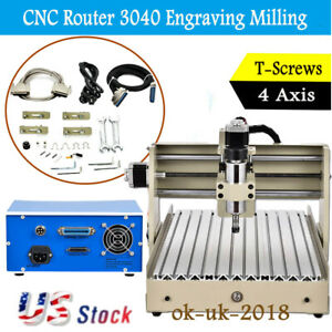 Cnc 3040 4 axis Router 400w Engraving Wood Milling Cutting Engraver Machine