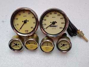 Gauges Kit Magnolia 100 Mm Speedo Tacho Clock Wise With 52mm Mechanical Gauges
