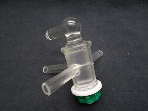 Chemglass 3 way T bore Pressure Adapter W 2mm Glass Stopcock 8mm Od Damaged