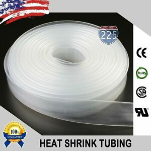 50 Ft Feet Clear 1 1 2 38mm Polyolefin 2 1 Heat Shrink Tubing Tube Cable Us Ul