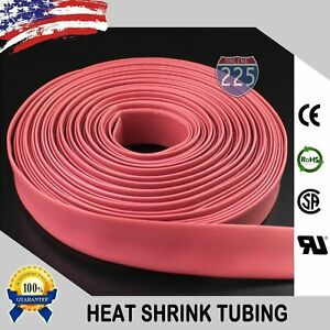 25 Ft Feet Red 1 1 2 38mm Polyolefin 2 1 Heat Shrink Tubing Tube Cable Us Ul