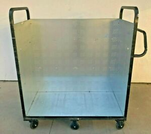 Stainless Steel Utility Storage Push Cart No Shelves 6 Castor Wheels
