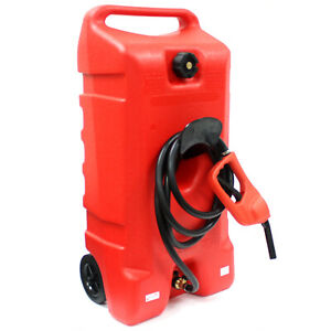 14 Gallon Gas Caddy Can Fluid Transfer W Hand Nozzle Pump 10 Long Fuel Hose