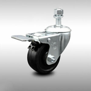 Ss Soft Rubber Swivel Ts Caster W 3 Wheel 1 2 Stem W total Lock Brake