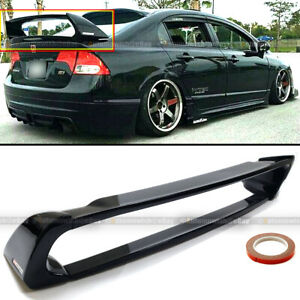 For 06 11 Civic 4dr Sedan Gloss Black Mugen Style Rr 4pic Trunk Wing Spoiler