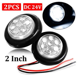2x 2 Inch Clear White Led Round Clearance Side Marker Lights Truck Trailer 24v