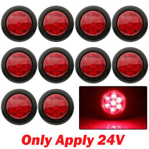 10x 2 Inch Red Led Round Side Marker Led Clearance Tail Light 24v Truck Trailer