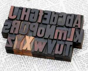 A z Alphabet 1 06 Letterpress Wooden Printing Blocks Wood Type Vintage Printer