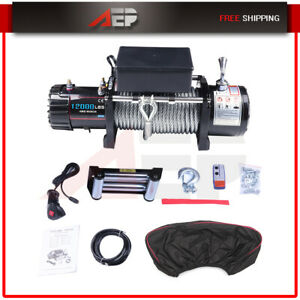 12000lb Electric Recovery Winch Wireless Remote For Trailer Truck Suv W Cover