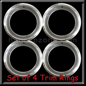 Set Of 4 14x7 Stainless Steel Trim Rings Beauty Rings 2 1 2 Deep 14 X 7 Chrome