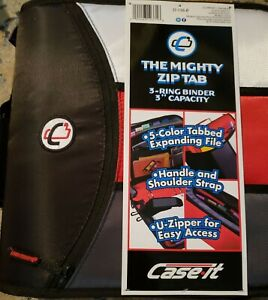 Case It The Mighty Zip Tab Binder 5 File Color Tabs 3 Capacity Red Black Blue