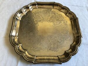 Newport Silver Plated 13 X13 Serving Tray Scalloped Square