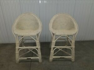 Mid Century Bamboo Bent Ratten Wood Sauser Shape Set Bar Stools 1 Pair