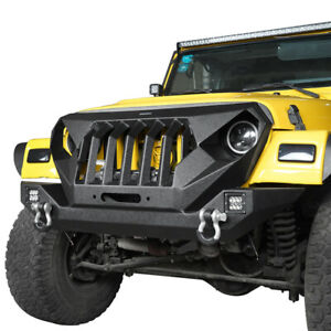Black Mad Max Grill Front Bumper W Led Lights Fit Jeep Wrangler Tj 1997 2006