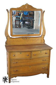 Late Victorian Antique Serpentine Oak Dresser Carved Mirror 72