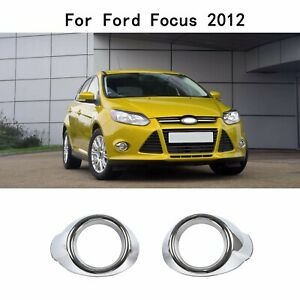 Fit Ford Focus 2012 2013 Chrome Front Fog Lights Lamps Cover Ring Bezels Trim