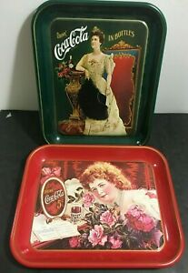 COKE COCA COLA 75TH ANNIVERSARY LIMITED TRAY LOT X 2 TRAYS GIRL WITH ROSES